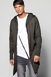 Longline Hooded Cardigan With Extended Cuff