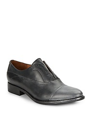 Kenneth Cole Ciao Ciao Metallic Leather Slip On Oxfords Black