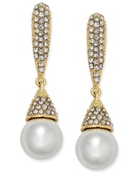Inc International Concepts Gold Tone Imitation Pearl And Pave Drop Earrings Only At Macy's Gold Tone