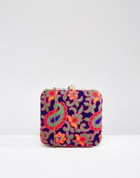 Park Lane Paisley Hand Embroidered Box Clutch Bag Blue Multi