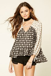 Forever 21 Floral Cutout Neck Top