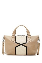 Treesje Crest Leather Tote Beige
