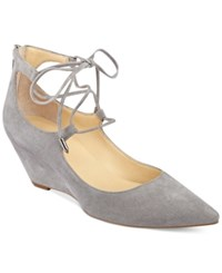 Ivanka Trump Winogrand Lace Up Wedge Pumps Women's Shoes Gray