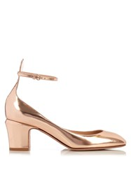 Valentino Tango Block Heel Leather Pumps Rose Gold