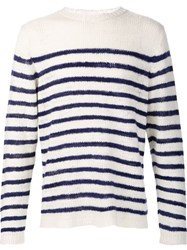 The Elder Statesman 'Picasso' Striped Sailor Jumper White