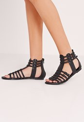 Missguided Strappy Flat Gladiator Sandals Black Black