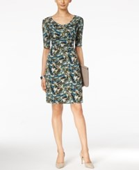 Connected Printed Drape Neck Dress Olive