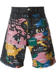Love Moschino Map Print Denim Shorts Black
