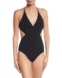 Tory Burch Solid Wrap Front One Piece Swimsuit Black