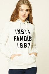 Forever 21 Insta Famous 1987 Hoodie Oatmeal Black
