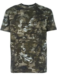 Versus Camouflage Print T Shirt Green
