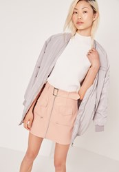 Missguided Petite Exclusive Buckle Zip Faux Leather Mini Skirt Nude Beige