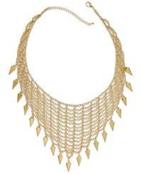 Bar Iii Gold Tone Mesh Bib And Spike Frontal Necklace