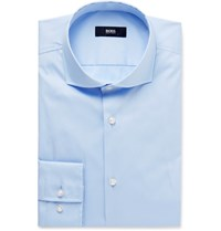 Hugo Boss Blue Jason Slim Fit Cutaway Collar Cotton Blend Shirt