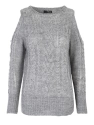 Jane Norman Cold Shoulder Cable Jumper Grey