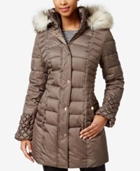 Betsey Johnson Faux Fur Trim Quilted Puffer Coat Taupe