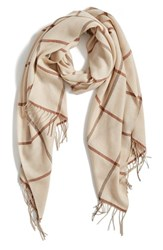 Nordstrom Women's Plaid Cashmere And Wool Scarf Brown Combo