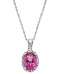 Macy's 14K White Gold Pink Topaz 2 Ct. T.W. And Diamond Accent Pendant Necklace