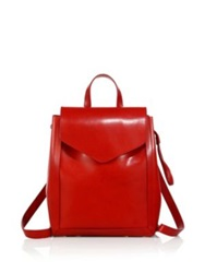 Loeffler Randall Mini Leather Backpack Red Black Cuoio