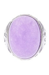 Savvy Cie Rhodium Plated Sterling Silver Amethyst Cabochon Filigree Ring Purple
