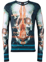 Jean Paul Gaultier Vintage Skull Print Fitted T Shirt Multicolour