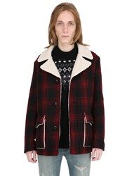Saint Laurent Checked Wool Coat With Faux Shearling