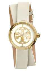 Tory Burch 'Reva' Logo Dial Double Wrap Leather Strap Watch 28Mm Ivory Gold