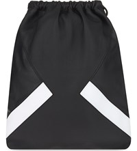 Neil Barrett Modernist Grained Leather Drawstring Backpack Black White