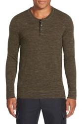 Vince 'Jasper' Wool And Linen Henley Green