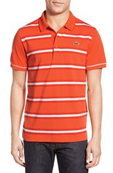 Men's Lacoste 'Super Light' Stripe Pique Polo Buoy Orange Ember White