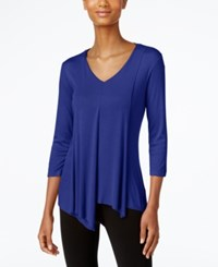 Cable And Gauge Asymmetrical Hem Top Blue