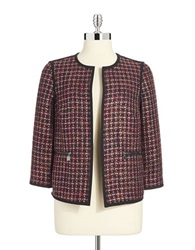 Anne Klein Flyaway Tweed Blazer Berry Multi