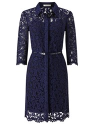 Precis Petite Alaine Lace Shirt Dress Navy
