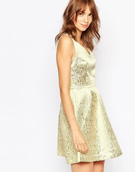 Vila Metallic Plunge Skater Dress Gold