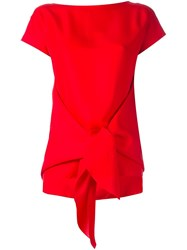 Nina Ricci Tied Front Blouse Red