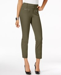 Inc International Concepts Petite Straight Leg Cropped Zipper Pocket Pants Only At Macy's Olive Drab