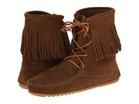 Minnetonka Tramper Ankle Hi Boot Dusty Brown Suede Women's Pull On Boots