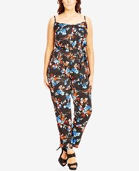 City Chic Plus Size Floral Print Tapered Jumpsuit Black