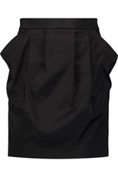 Balmain Pierre Cotton Blend Satin Mini Skirt Black