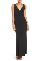 Laundry By Shelli Segal Women's Embellished Jersey Column Gown Black