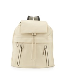 Calfskin Backpack W Monili Straps Vanilla White Brunello Cucinelli