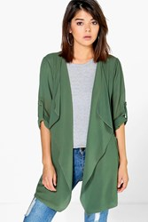 Boohoo Chiffon Waterfall Jacket Khaki