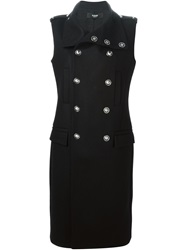 Versus Sleeveless Double Breasted Coat Black