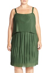 Junarose 'Pamela' Pleat Popover Sundress Plus Size Greener Pastures
