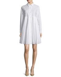 Sun Pleated Long Sleeve Cotton Shirtdress White