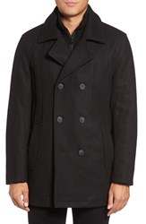 Marc New York Men's Big And Tall By Andrew Cheshire Peacoat With Bib Black