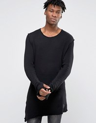 Criminal Damage Longline Long Sleeve T Shirt With Asymmetric Raw Hem Black