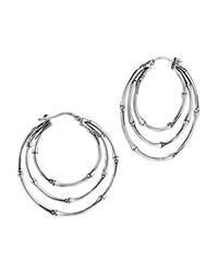 John Hardy Bamboo Silver Medium Orbital Hoop Earrings