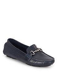 Saks Fifth Avenue Leather Bit Driver Moccasins Blue