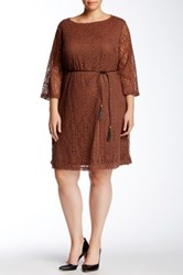 Sharagano 3 4 Length Sleeve Lace Dress Plus Size Brown